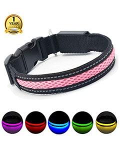Collar bicolor rosa gris y paleta de muestra de colores