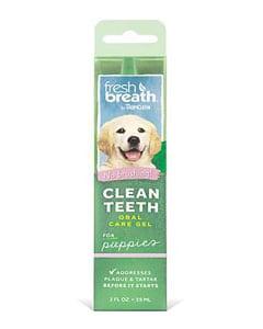 Sobre de pasta dental con imagen de perro cachorro