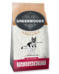 Greenwoods Comida para perros de pavo y arroz