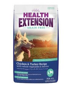Paquete de pienso para perros de la marca Health Extension