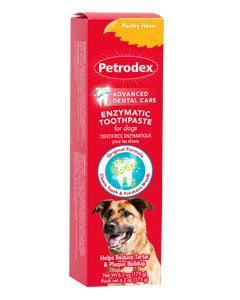 Sobre de pasta de dientes y imagen de perro