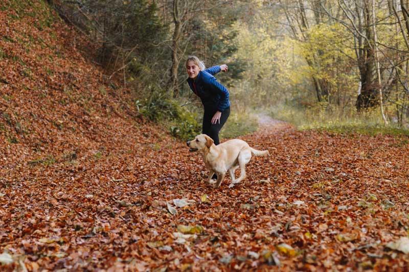 campo lleno de hojas secas y mujer y perro jugando