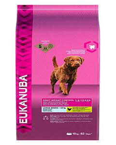 Saco de pienso para perros Eukanuba con ingredientes especiales para el control de peso