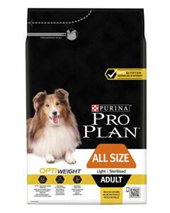 Saco de pienso de Purina Pro plan con una receta especial para perros son sobre peso
