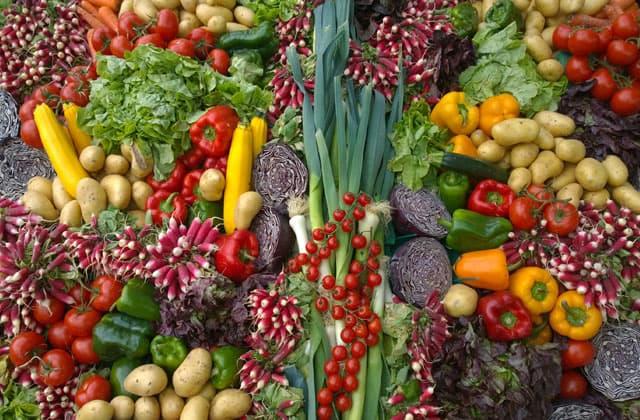 Variedad de vegetales de muchos tipos listos para preparar comida